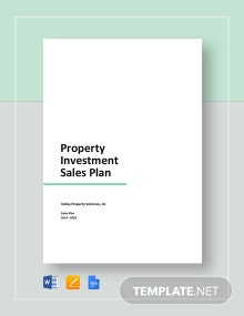 Property Investment Sales Plan Template