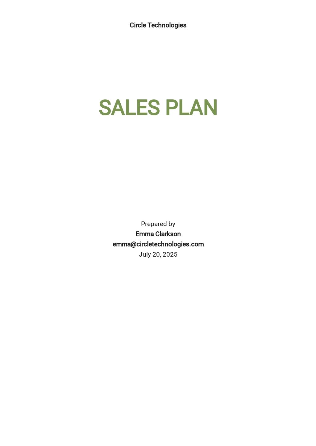 SaaS Sales Plan Template