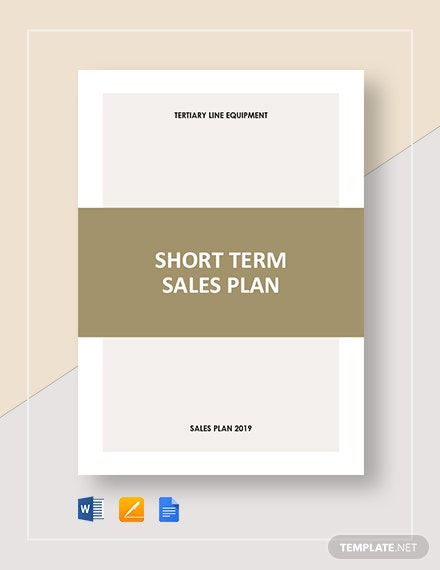 Short-Term Sales Plan Template