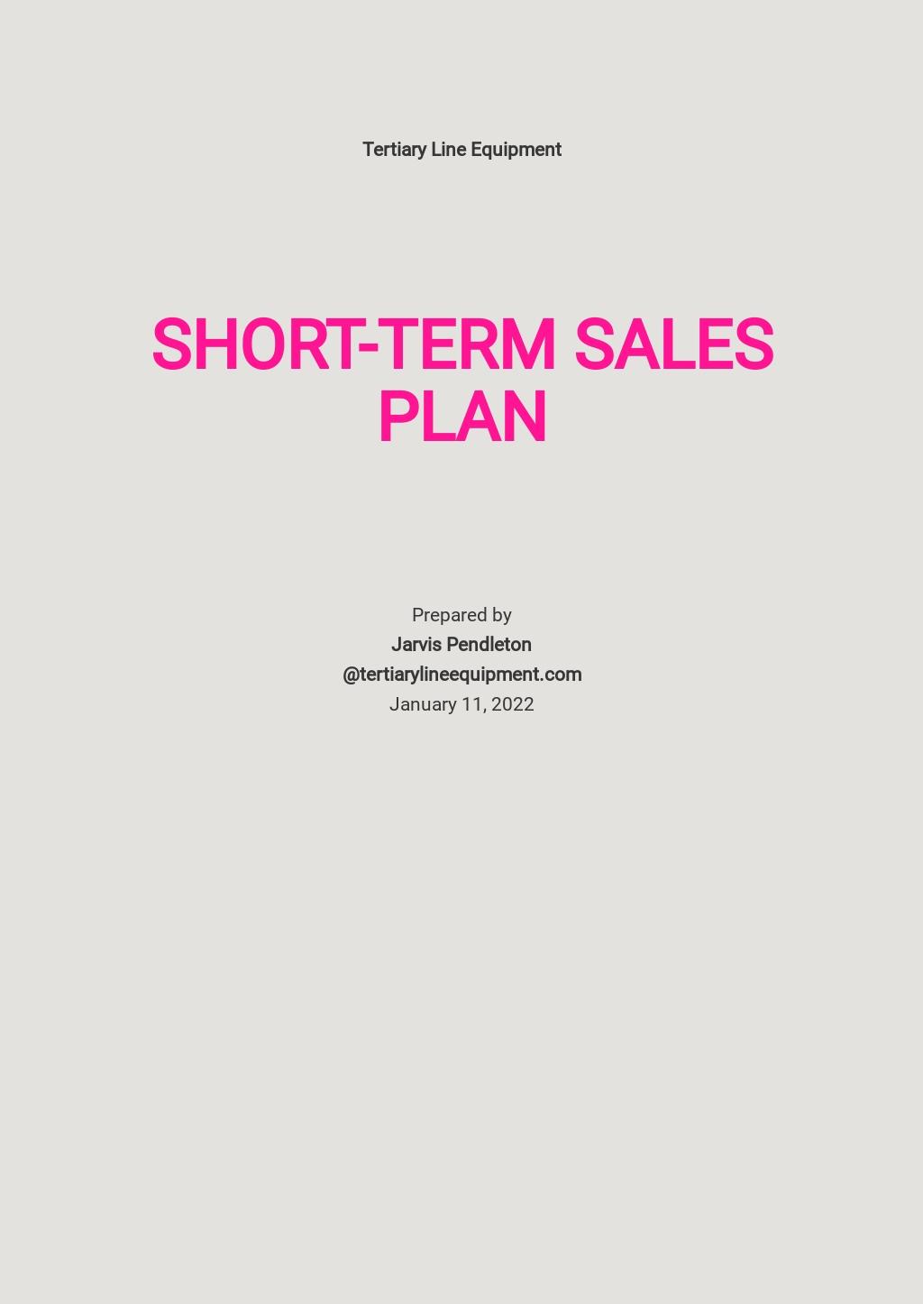 Short-Term Sales Plan Template