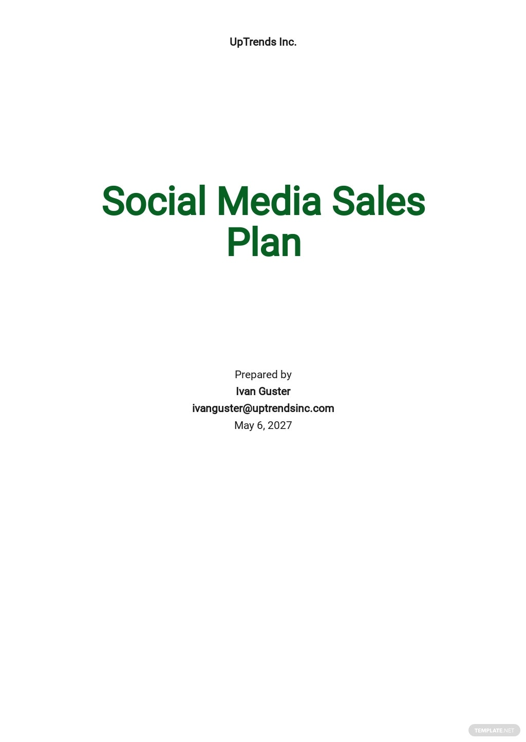 Social Media Sales Plan Template