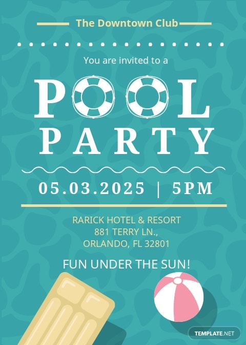 Printable Pool Party Invitation Template [Free JPG] - Illustrator, Word, Outlook, Apple Pages, PSD, Publisher
