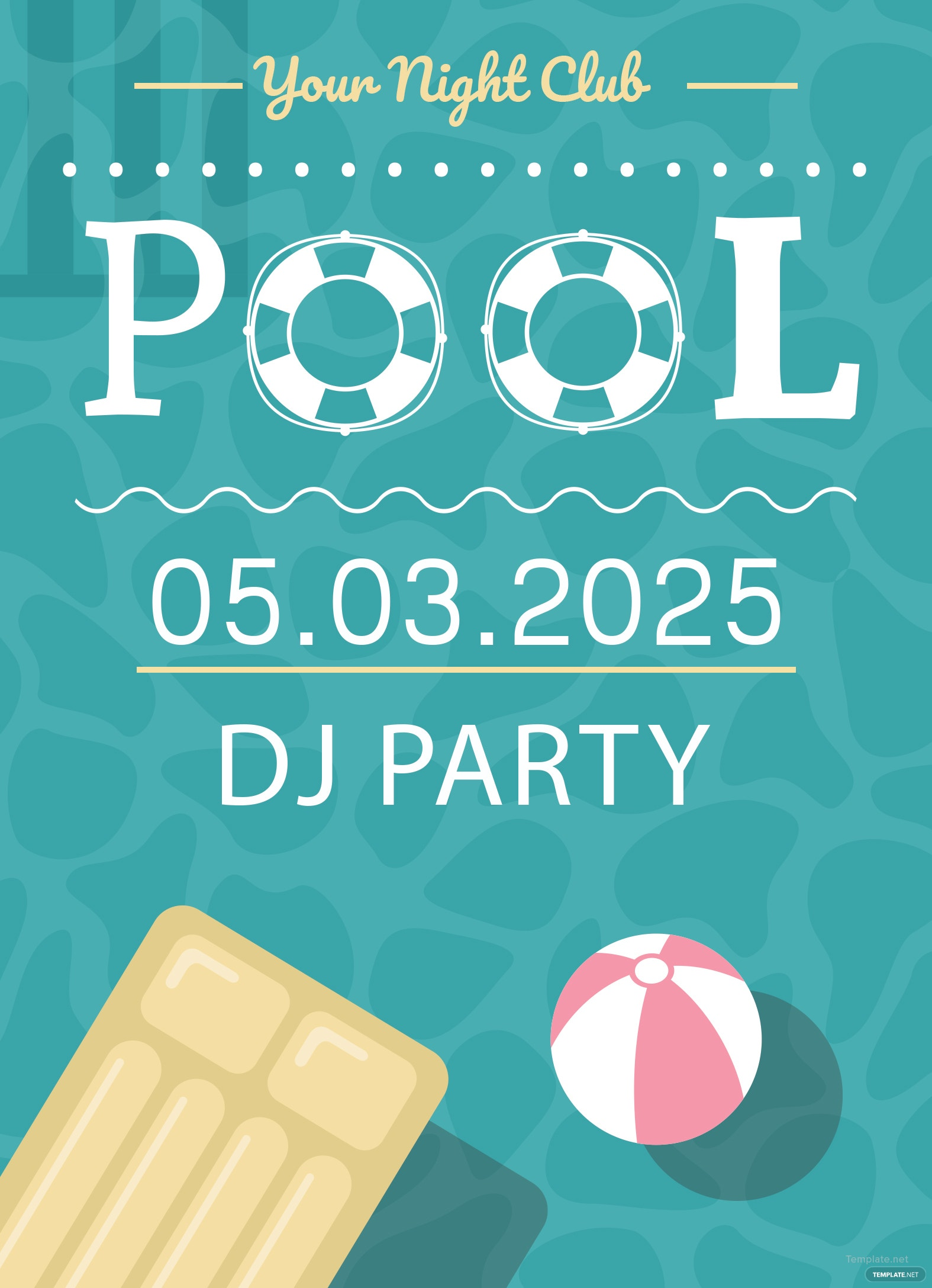 free printable pool party invitation template in adobe