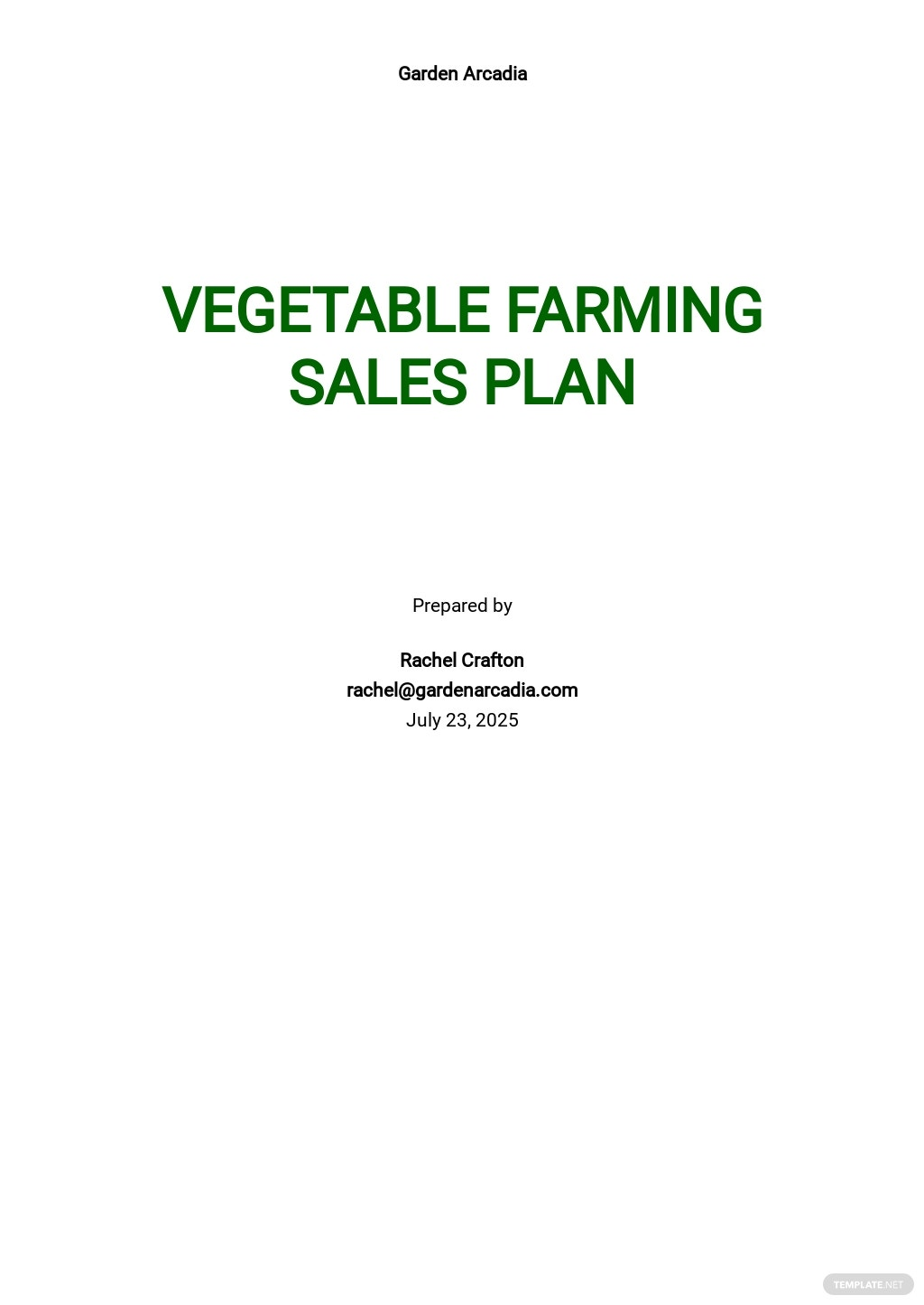 Vegetable Farming Sales Plan Template