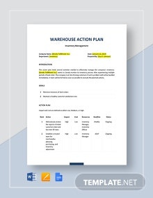 Warehouse Action Plan Template