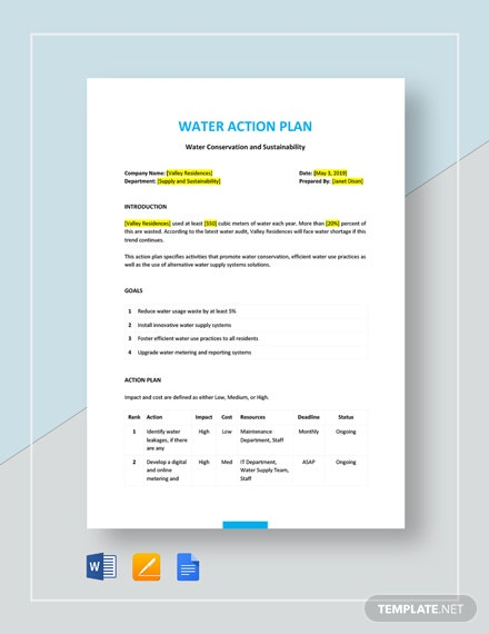 Water Action Plan Template