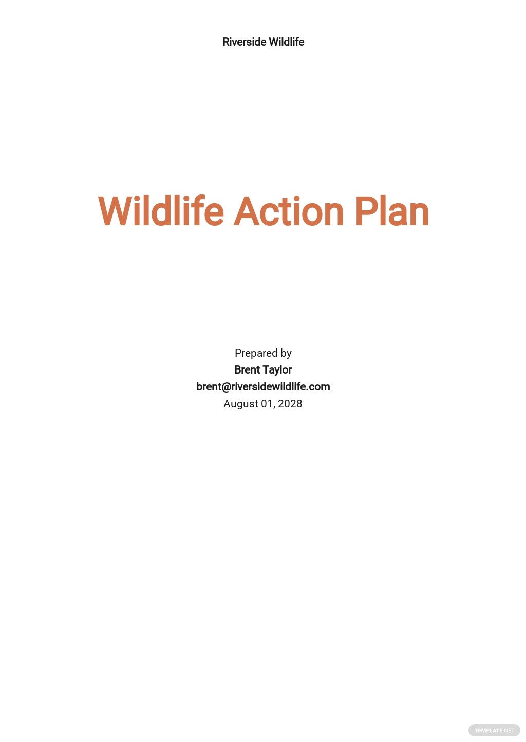 Wildlife Action Action Plan Template