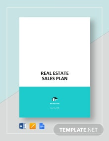 Sample Real Estate Sales Plan Template