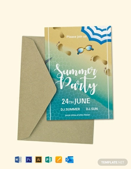 Free Swimming Pool Party Invitation Template