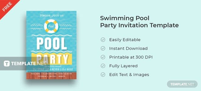 Free Swimming Pool Party Invitation Template Free Templates