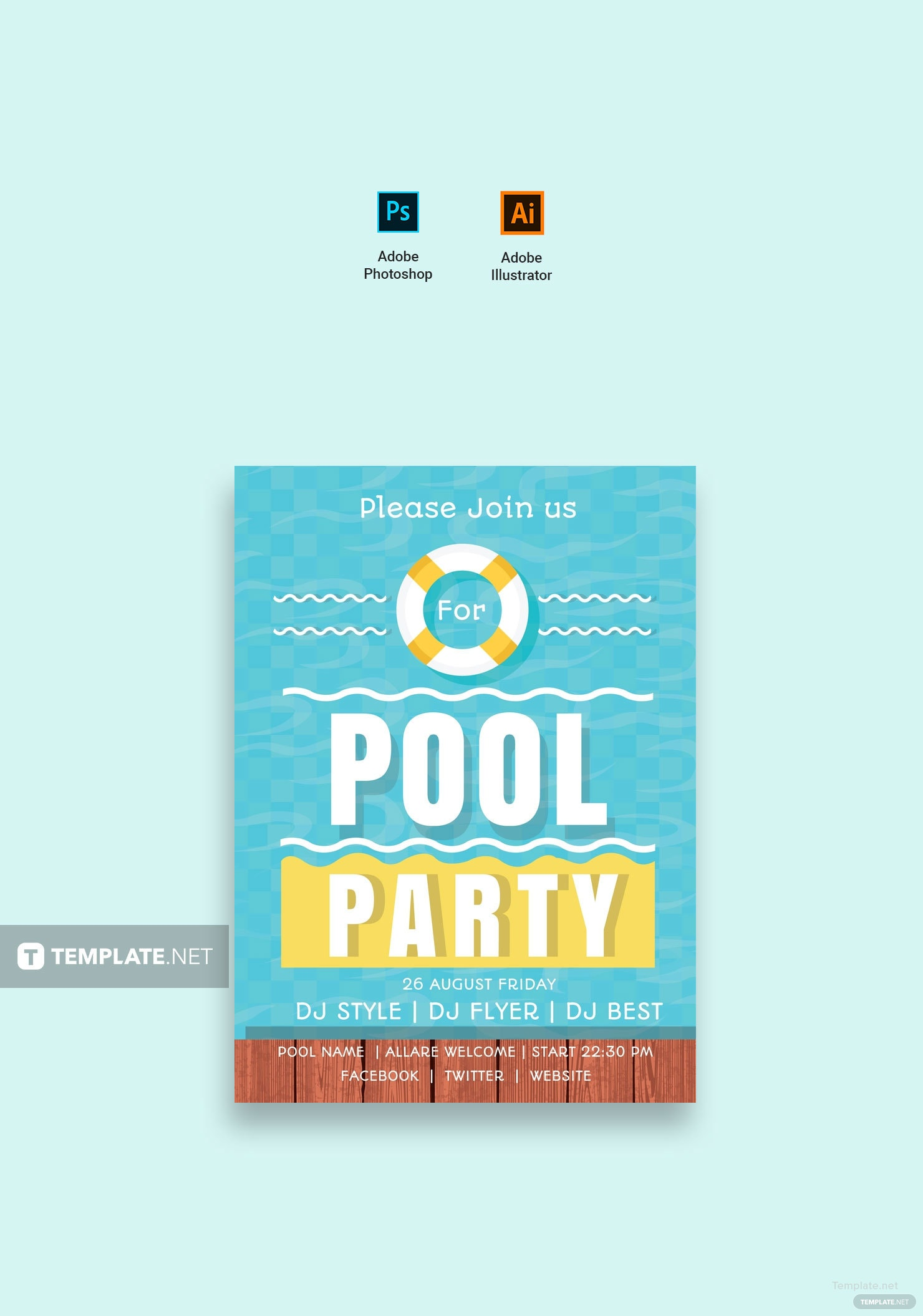 Free Swimming Pool Party Invitation Template in Adobe Photoshop ...