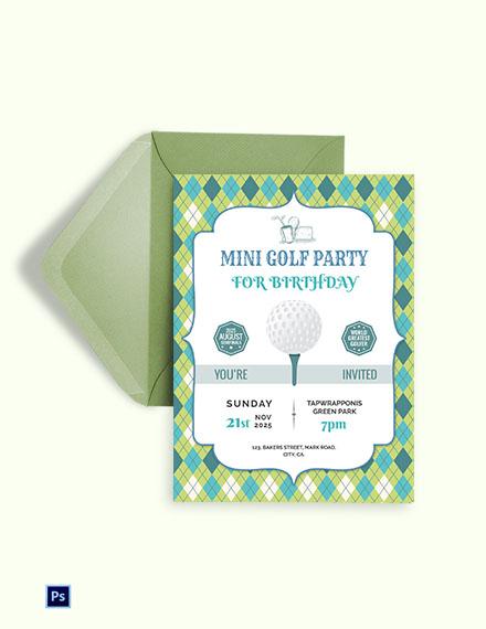 Golf Birthday Party Invitation Template