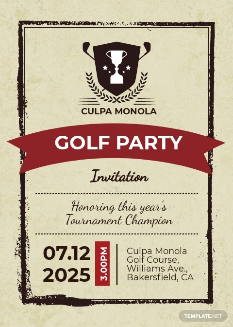 Editable Golf Party Invitation Template