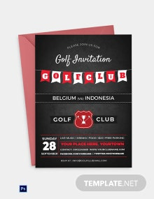 Golf Club Party Invitation Template