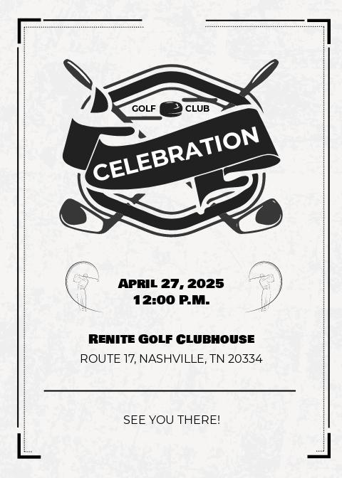 Golf Club Team Invitation Template