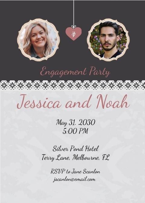 Elegant Engagement invitation Card Template