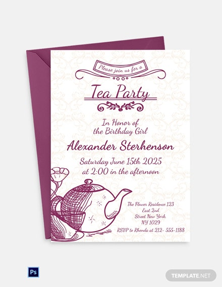Editable Tea Party Invitation Template