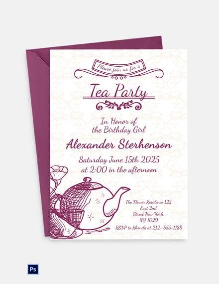 Editable Tea Party Invitation Template