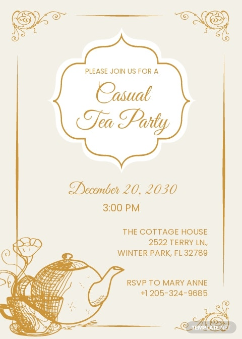 Simple Tea Party Invitation Template