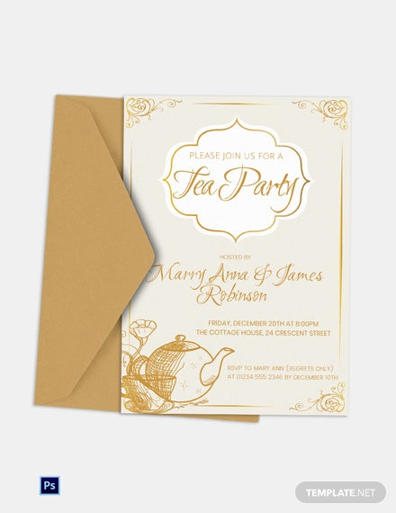 Simple Tea Party Invitation Template