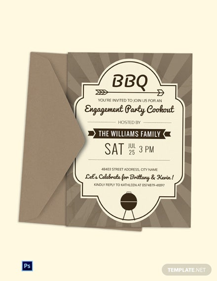 Engagement BBQ Party Invitation Template