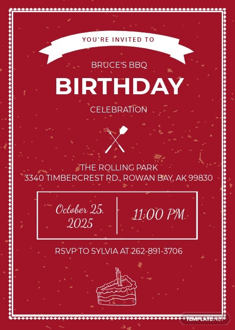 BBQ Birthday Celebration Invitation Template