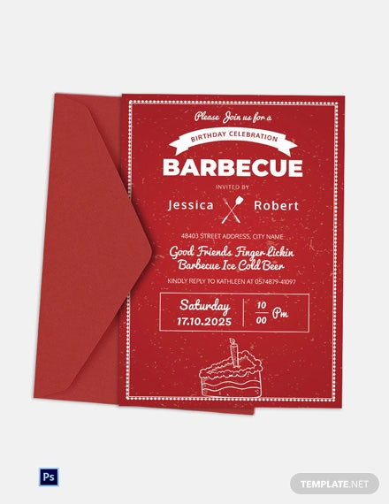 BBQ Birthday Celebration Invitation