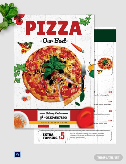 Editable Pizza Menu Table Tent Template