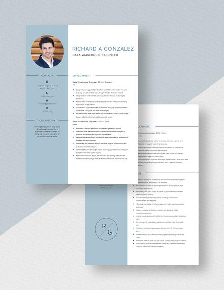 Data Warehouse Engineer Resume Download