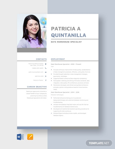 Data Warehouse Specialist Resume Template