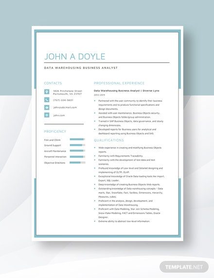 Data Warehousing Business Analyst Resume Template