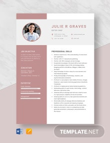 Editor Chief Resume Template