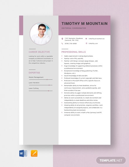 Editorial Coordinator Resume Template
