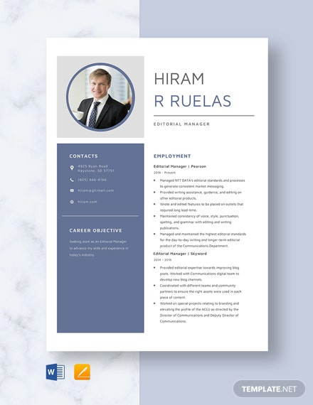 Editorial Manager Resume Template