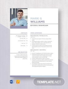 Editorial Researcher Resume Template