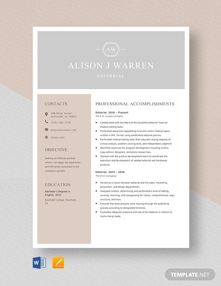 Editorial Resume Template