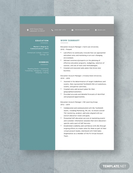 Education Account Manager Resume Template