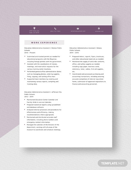 Education Administrative Assistant Resume Template