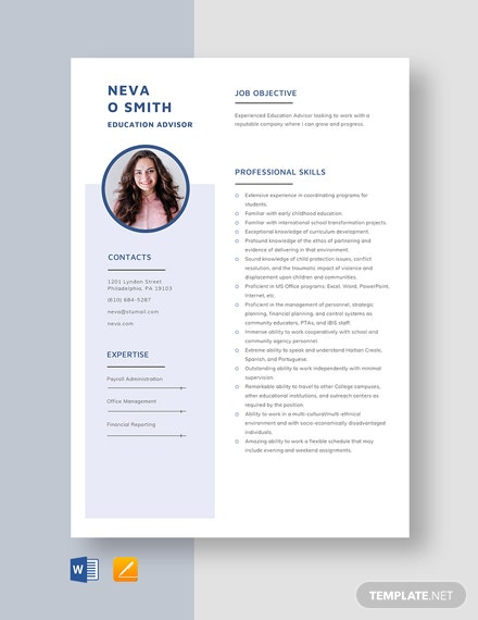 Education Advisor Resume Template
