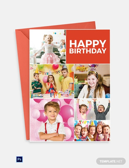 Photo Birthday Greeting Card Template