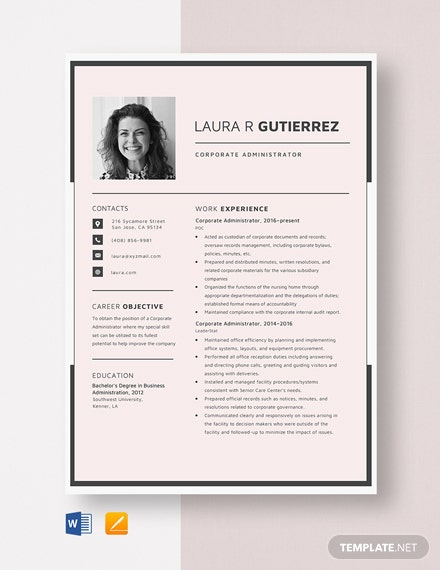 Corporate Administrator Resume Template