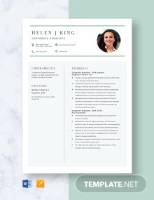 Corporate Associate Resume Template