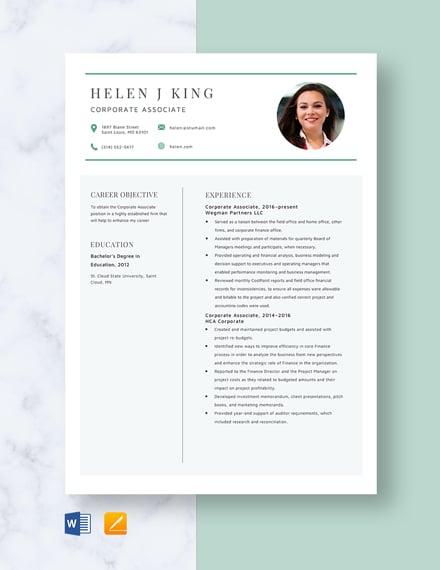 Corporate Associate Resume Template