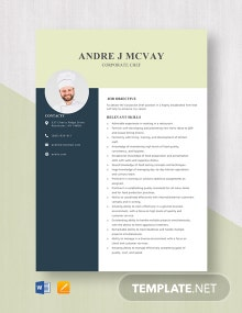 Corporate Chef Resume Template