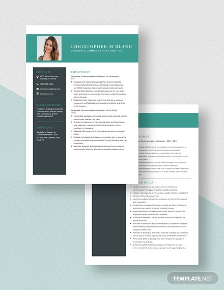 Corporate Communications Director Resume Download