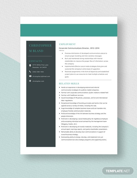 Corporate Communications Director Resume Template