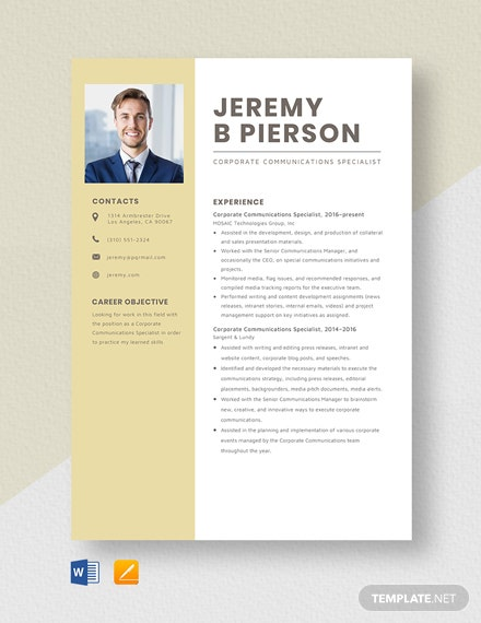 Corporate Communications Specialist Resume Template
