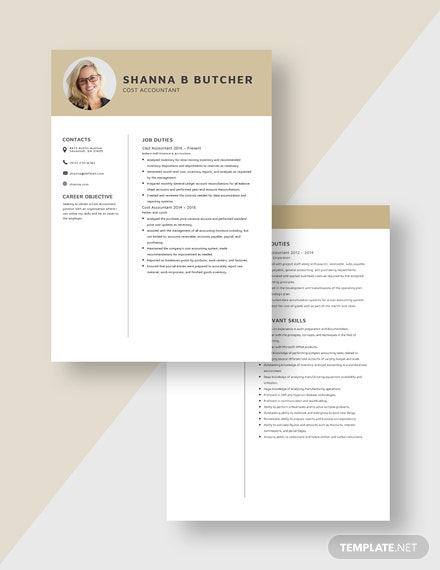 Cost Accountant Resume Download