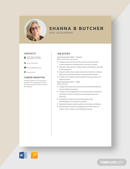 Cost Accountant Resume Template