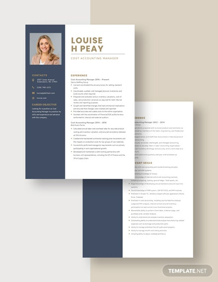 Cost Accounting Manager Resume  Download